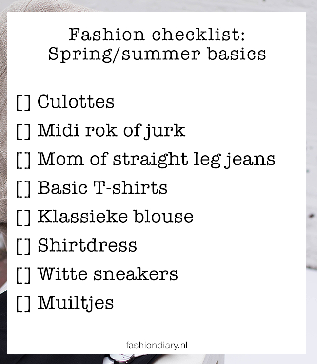 Fashion checklist spring/summer basics