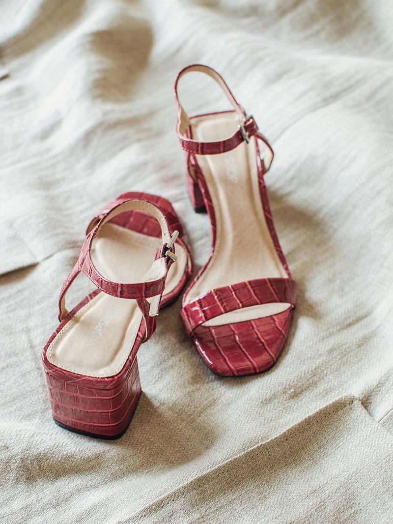 Topshop red croc sandals